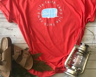 Faith Camp Life t shirt/camping t shirt/vintage camper/ Valentine's day gift for her