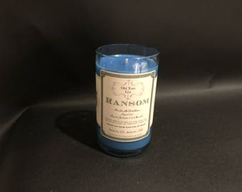 HANDCRAFTED Candle UP-CYCLED  Old Tom Gin Ransom Gin Bottle Soy Candle. Made To Order !!!!!!!