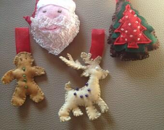 4 ornaments, handmade Christmas decorations