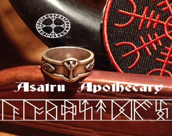 Algiz Rune Ring with free Helm of Awe patch// Norse Pagan // Viking Ring // Asatru ring // Odin // Asgard // Thor
