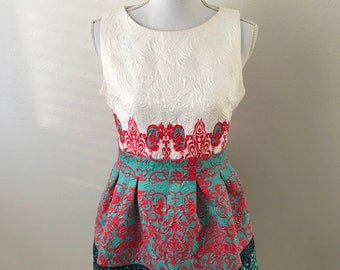 SALE Vintage Dress Colourful/ Summer Dress Without Sleeves/ Size L large to Medium.