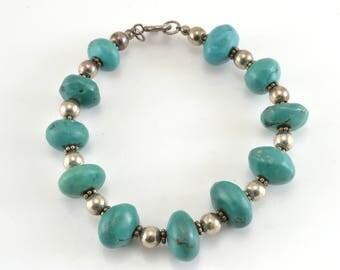 Turquoise Bracelet, Sterling Bracelet, Turquoise Beads, Vintage Bracelet