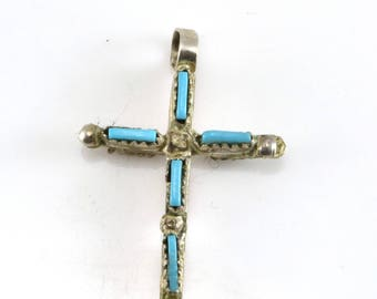 Cross Pendant, Zuni, Coral, Turquoise, Double Sided, Native American, Sterling Silver