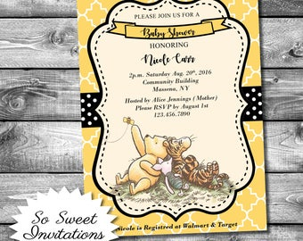 Winnie The Pooh Baby Shower Invitation, Baby Shower Invite, Classic Pooh, Printable Invitation, Girl Baby Shower, Pooh Invitation