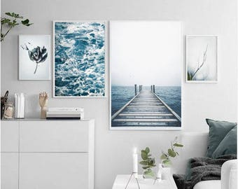 Print Set of 4 blue decor ocean photography nautical decor waves abstract, abstract prints, large wall art prints tulip print photo download