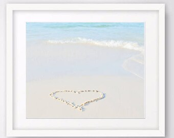 Heart Photography, Ocean Print, beach wall art, romantic art, heart in sand, nautical decor, seascape print