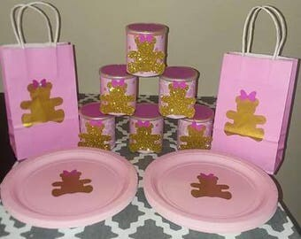 Pink and Gold teddy bear party decorations