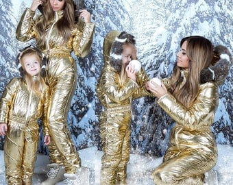 Winter Skisuit Snowsuit Ski Suit Overall Snow Wet Look Gloss Shine Nylon Anzug Outwear Damen Glanz Gold White Red Blue Snowboard Fur
