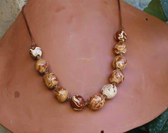 ceramic beads eco bio collier de perles en Céramique little jewel necklace unique fait main handmade in Provence
