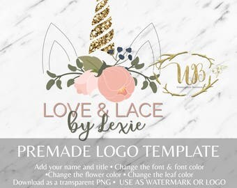 Romantic Floral and Gold Glitter Unicorn Watermark/Logo