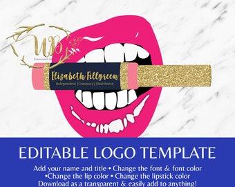 Lips Biting LipSense Gold Glitter - LipSense Logo Template