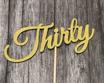 30th Birthday Cake Topper - Thirty Number Only Birthday Topper, Cake Topper, Birthday, Cake Banner