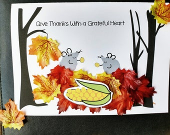 Grateful Mice Card, Thanksgiving Card, Fall Card, Fall Leaves Card, Corn Card