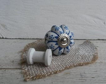 Ceramic knob - white/blue-