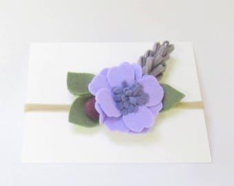 Felt flower headband, Flower headband, Baby flower headband, Baby Headband, Baby Felt Headband, Baby purple headband, purple Felt Headband