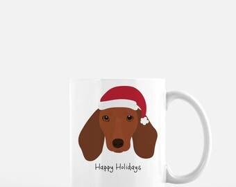 Personalized Dachshund Mug, Dachshund Mug, Brown Dachshund Mug, Dachshund Coffee Mug, Wiener Dog Mug, Holiday Dachshund Gift,Sausage Dog Mug