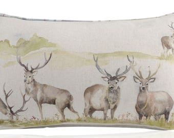 Voyage Maison Moorland Stag Piped Bolster Cushions with Filler