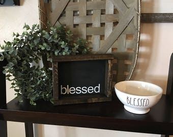Blessed Reclaimed Wood Boxwood Frame Sign