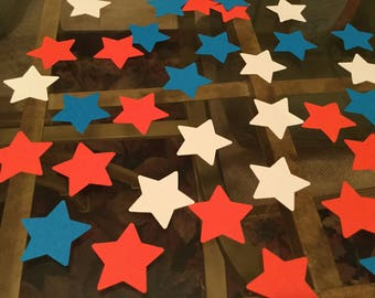 Patriotic red white and blue star confetti or art supply ( 1 3/8 in )