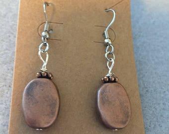 Copper drop stainless steel earrings