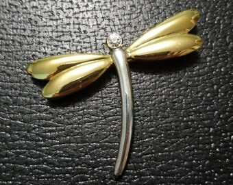 Dragonfly Brooch Signed AAi Gold and Silver Dragonfly brooch Vintage Dragonfly Brooch
