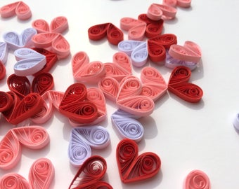 Quilled Hearts Paper Quilling Art Confetti Scatter Ornaments Gifts Fillers Valentines Mothers Day Baby Bridal Shower Wedding Red Pink White