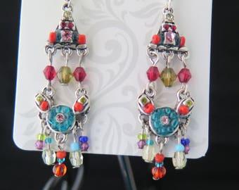 Beaded chandelier dangling earrings