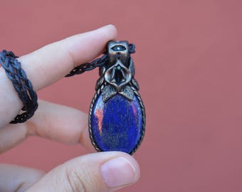 Woman's Intuition Third Eye Vulva necklace with lapislazuli, vulva pendant, yoni necklace, yoni pendant, vulva necklace, vagina pendant