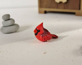 Northern Cardinal Figurine - Handmade Polymer Clay Cute Bird
