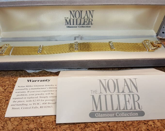 Nolan Miller Liquid Gold Wide Bracelet Faux Diamond Accents Gorgeous NIB