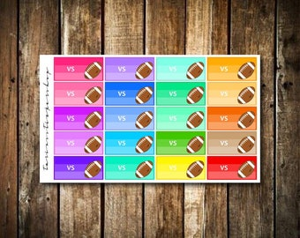20 Multicolor Football Game VS Game - Fits Erin Condren Vertical & Happy Planner