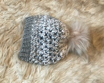 Faded 3 tone crochet hat, baby beanie, kids beanie
