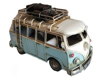 VW Style Camper Van Rustic Shabby Tin Metal Model Ornament 28cm With Luggage Perfect Gift