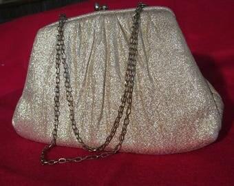 Vintage 1950s Harry Levine gold lame handbag