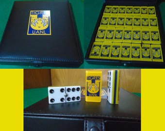 Tigres UANL Dominoes Game Set Double Six Domino JUMBO Size Dominos Futbol Father Dad Husband Man Men Christmas Birthday Gift Man Cave Gignac