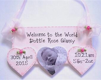 Personalised Plaque Birth Details Keepsake