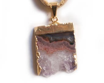 Gold Plated Amethyst and Smoke Deer Skin Leather Necklace with Copper Clasps