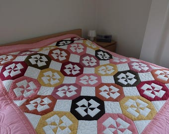Patchwork Quilt, Patchwork Blanket, Pink Blanket, Cotton Quilt, Hand made quilt, Hand Quilted, Twin bed quilt,