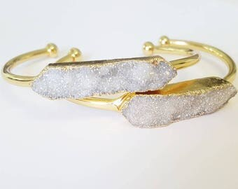 Druzy and Gold Bracelet-  Bangle Bracelet- White Druzy Jewelry- Wedding- Bridesmaid Gift - Bohemian Jewelry - Boho - Valentine's Day gift