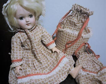 "1950's Ideal Toni Doll P-91 15"" Handmade Vintage Dress Matching Purse/Bag"