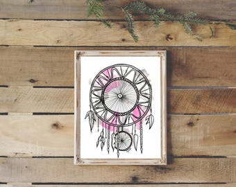 5x7 or 8x11 print, illustration, dreamcatcher watercolor, painting, home decor, watercolor, poster, dream catcher