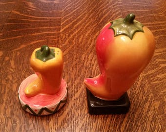 Clay Art Chili Salt and Pepper Shakers Southwestern