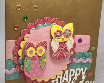 Girl birthday card, happy birthday card, card for girl, card for her, daughter birthday, grandaughter birthday, owl card