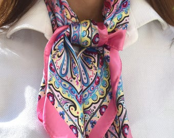 Silk Scarves, Pink Headscarf, Colored Scarf, Bandana Scarf, Silk Bandana, Accessory, Multi Purpose Accessory, Bag Accessory.