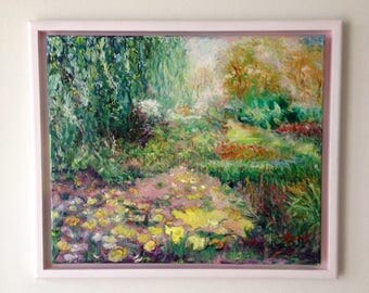 Water lilies in the Dutch landscape-oil paintings-pond-Dim. 50 x 60 cm