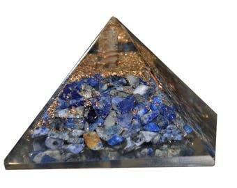 Aatm Reiki Energized Lapis Lazuli Orgone(1inch),blue pyramid,gemstone pyramid,throat chakra pyramid (Stone of Enlightenment & Balancing)