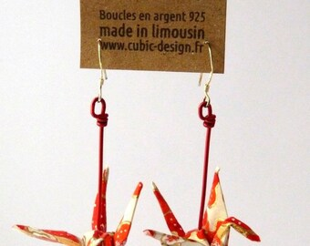Origami crane red cherry earrings