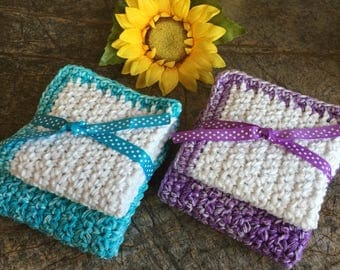 Crocheted dishcloths, set of 2, dishcloths, kitchen dishcloth, wash cloths, kitchen, gift, dining, washcloth,  hostess gift, homemade