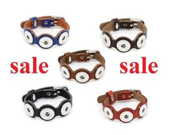 SALE! Bracelet, Leather wristband for push buttons, button, button button, Gr. L, color picker