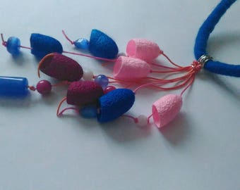 Blue silk cocoons necklace Pink raspberry necklace Necklace with silk cocoons Long Necklace-Boho Gift for women
